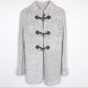 Ann Taylor LOFT cream and grey heathered sweater